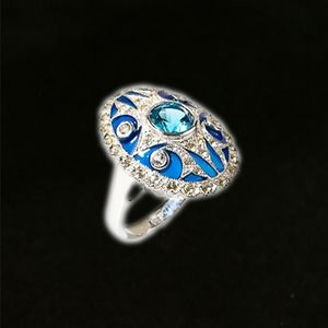 Jewelry - London Blue Topaz & Blue Enamel Ring
